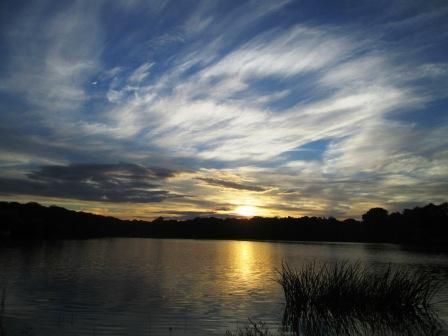 Leipziger Auensee bei Sonnenuntergang