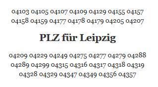 Postleitzahlen für Leipzig - PLZ